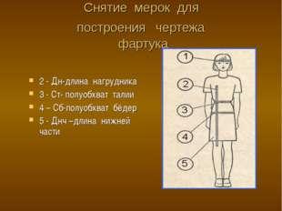 Снятие мерок для построения чертежа фартука 2 - Дн-длина нагрудника 3 - Ст- п