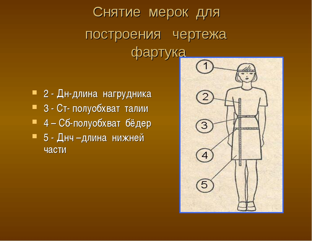 Снятие мерок для построения чертежа фартука 2 - Дн-длина нагрудника 3 - Ст- п...