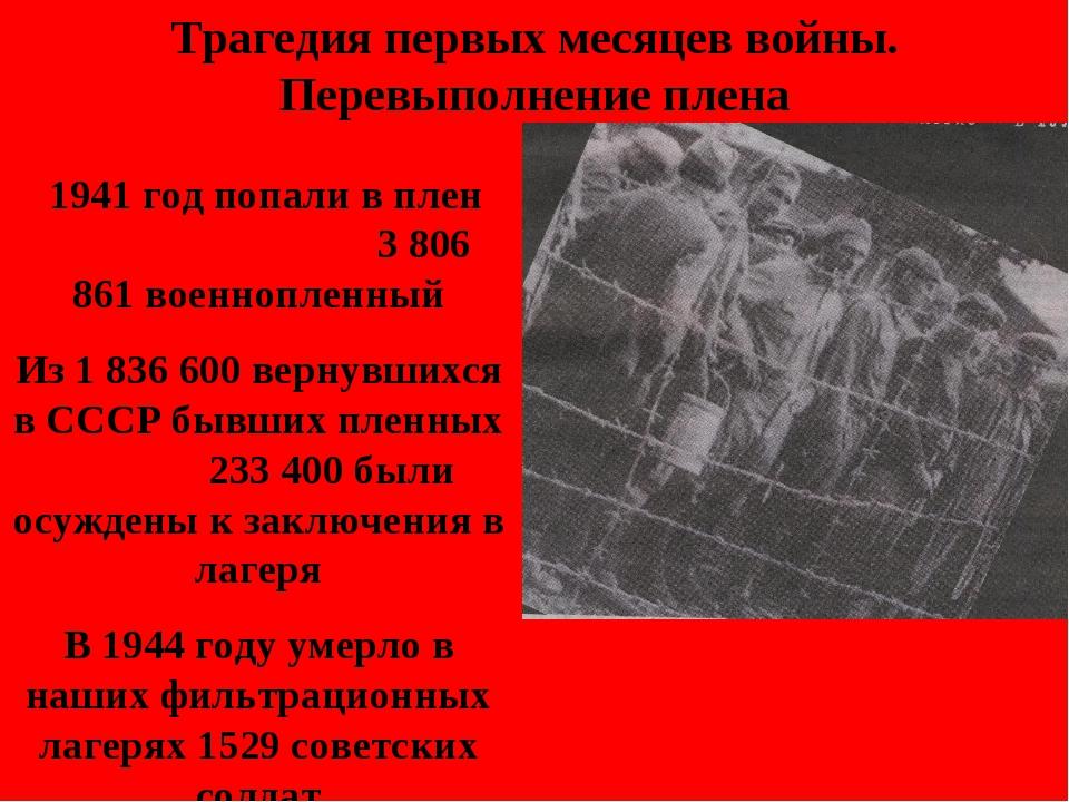 Трагедия первых месяцев войны. Перевыполнение плена 1941 год попали в плен 3...