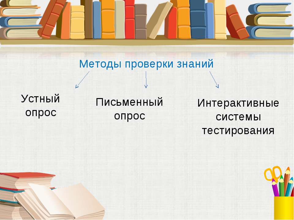 Методы проверки знаний Устный опрос Письменный опрос Интерактивные системы те...