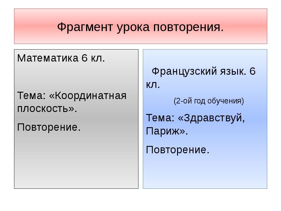 Фрагмент урока повторения. Математика 6 кл. Тема: «Координатная плоскость». П...