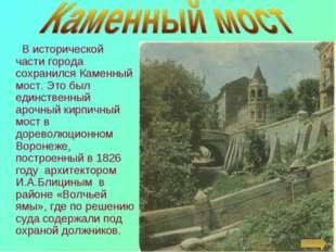 В исторической части города сохранился Каменный мост. Это был единственный а