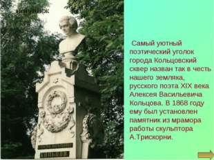 Самый уютный поэтический уголок города Кольцовский сквер назван так в честь