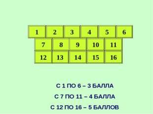 1 1 2 8 9 10 11 5 4 3 7 15 14 13 12 16 С 1 ПО 6 – 3 БАЛЛА С 7 ПО 11 – 4 БАЛЛА