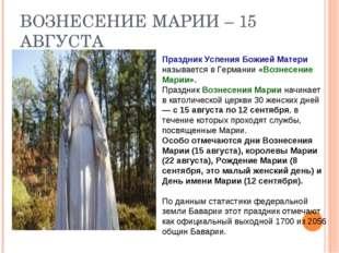 ВОЗНЕСЕНИЕ МАРИИ – 15 АВГУСТА Праздник Успения Божией Матери называется в Гер