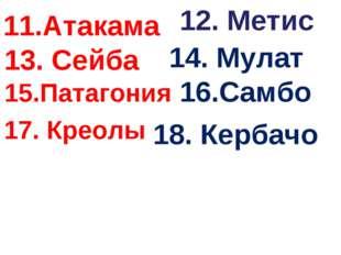 11.Атакама 12. Метис 13. Сейба 14. Мулат 15.Патагония 16.Самбо 17. Креолы 18.
