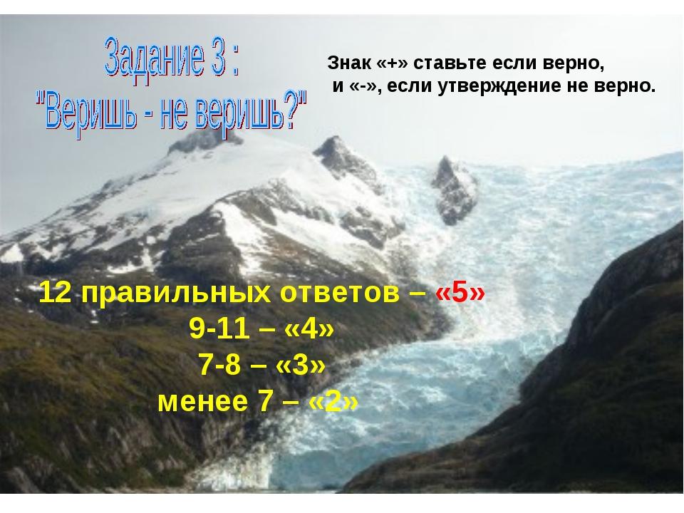 Знак «+» ставьте если верно, и «-», если утверждение не верно. 12 правильных...