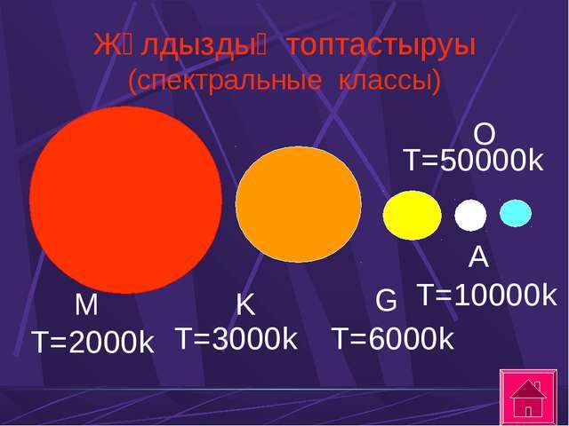 Жұлдыздың топтастыруы (спектральные классы) M T=2000k K T=3000k G T=6000k A T...