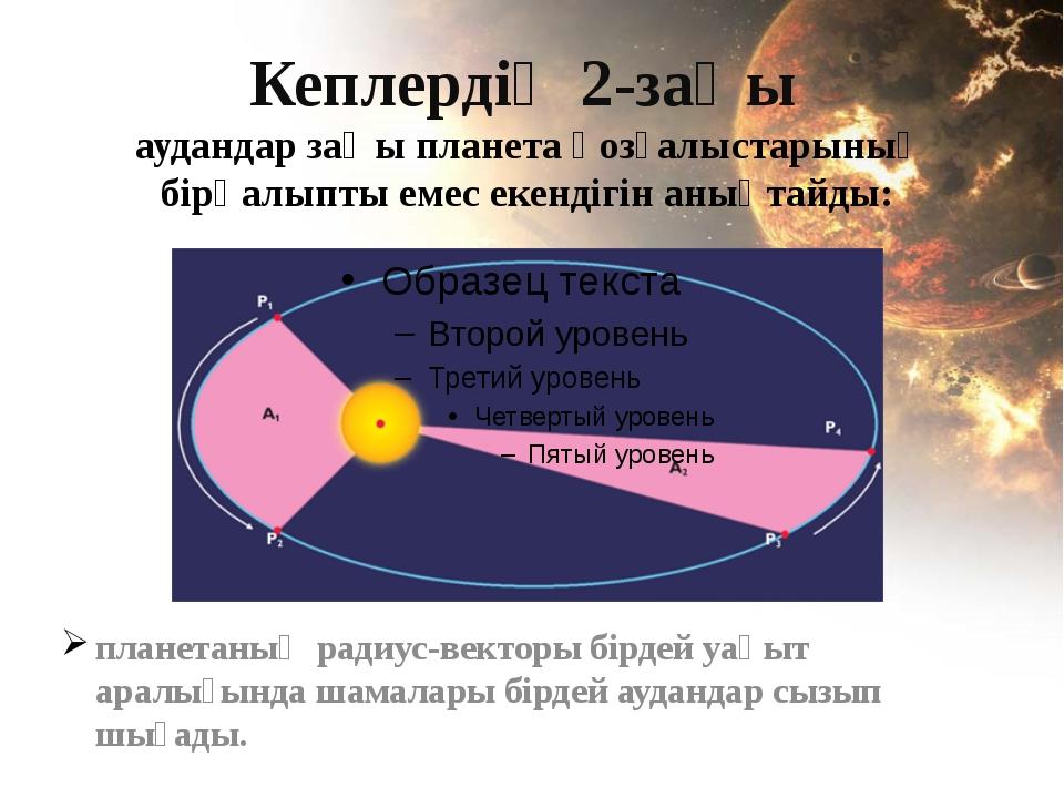 Кеплердің 2-заңы аудандар заңы планета қозғалыстарының бірқалыпты емес екенді...