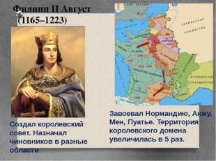 Филипп II Август (1165–1223) Завоевал Нормандию, Анжу, Мен, Пуатье. Территори