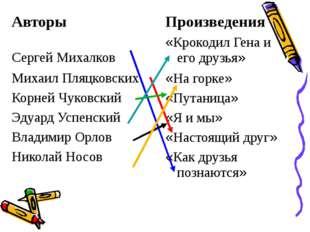 Авторы Произведения Сергей Михалков «Крокодил Гена и его друзья» Михаил Пляц