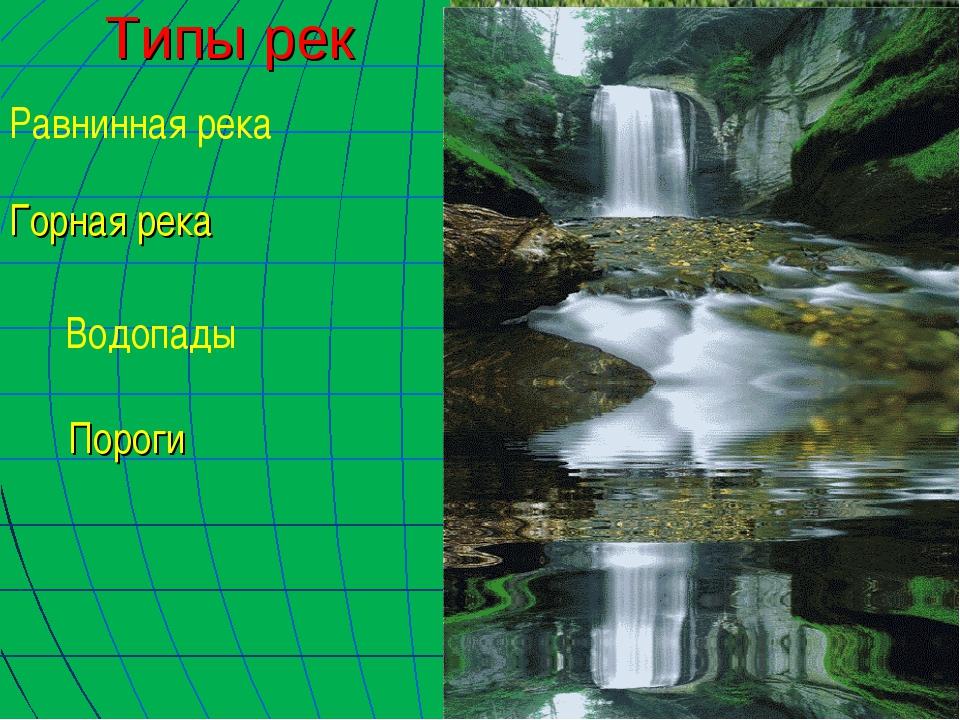 Типы рек Равнинная река Горная река Пороги Водопады