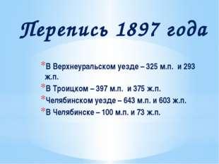 Перепись 1897 года В Верхнеуральском уезде – 325 м.п. и 293 ж.п. В Троицком –