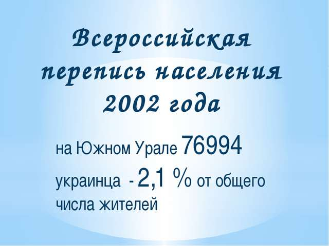 Всероссийская перепись населения 2002 года на Южном Урале 76994 украинца - 2,...