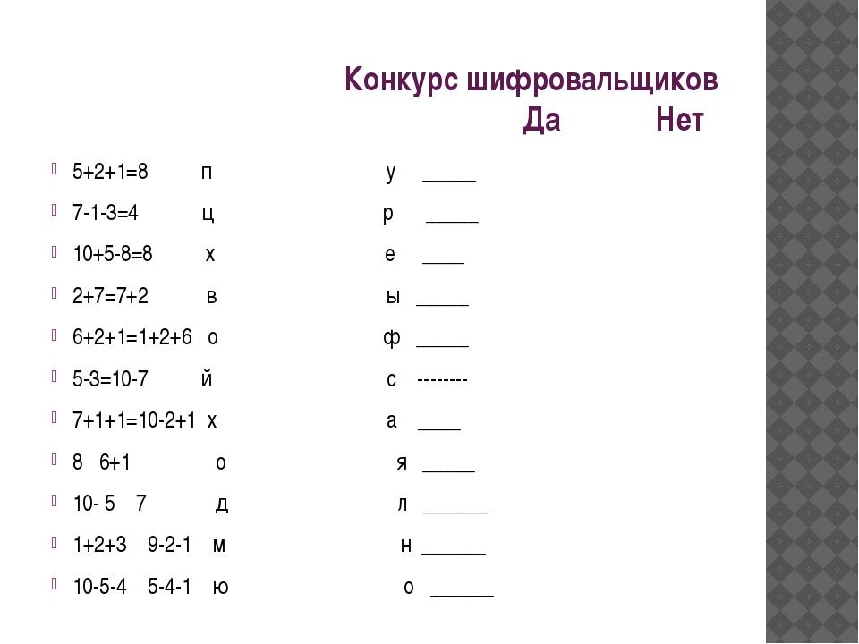 Конкурс шифровальщиков Да Нет 5+2+1=8 п у _____ 7-1-3=4 ц р _____ 10+5-8=8...