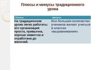Плюсы и минусы традиционного урока Плюсы минусы На традиционном уроке легко р