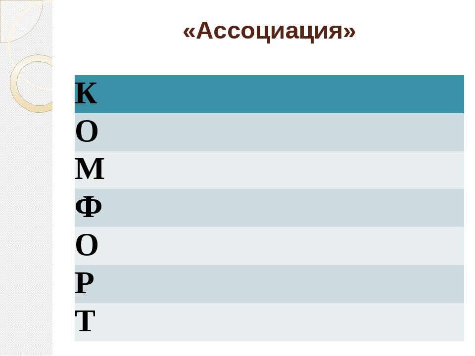 «Ассоциация» К О М Ф О Р Т