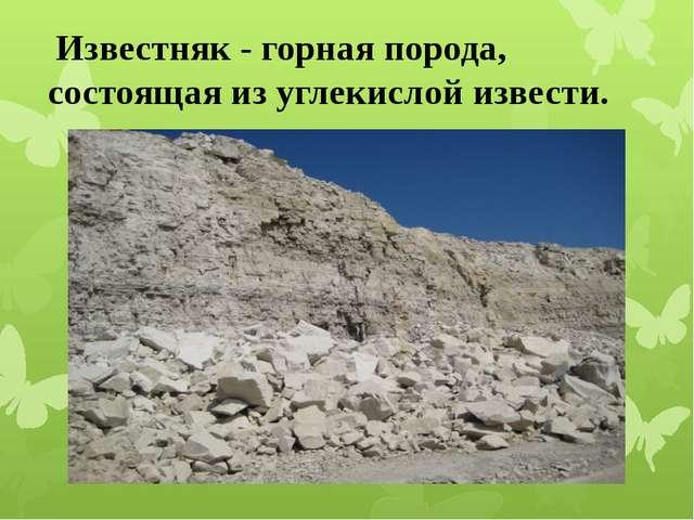 Известняк - горная порода, состоящая из углекислой извести.