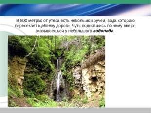 В 500 метрах от утёса есть небольшой ручей, вода которого пересекает щебёнку