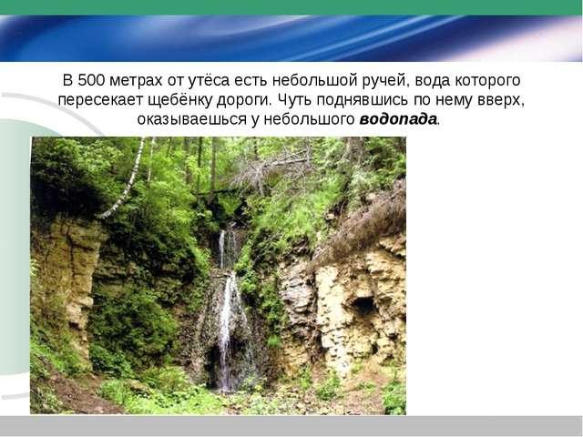 В 500 метрах от утёса есть небольшой ручей, вода которого пересекает щебёнку...