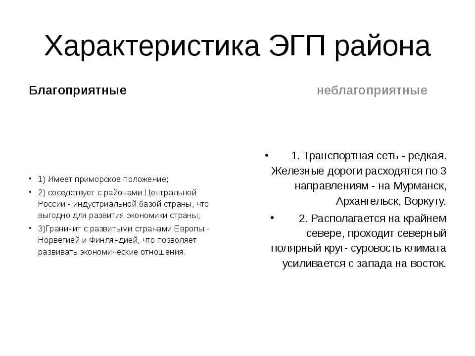 Характеристика ЭГП района Благоприятные 1)Имеет приморское положение; 2) сос...