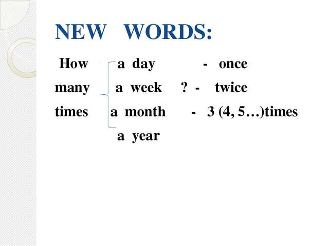 NEW WORDS: How a day - once many a week ? - twice times a month - 3 (4, 5…)ti...