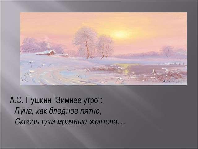 """А.С. Пушкин """"Зимнее утро"""": Луна, как бледное пятно, Сквозь тучи мрачные..."""