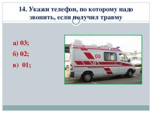 14. Укажи телефон, по которому надо звонить, если получил травму а) 03; б) 02