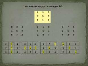 Магические квадраты порядка 3×3 492 357 816 834 159 672 618 75