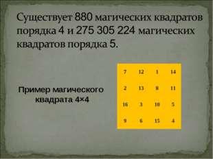 Пример магического квадрата 4×4 712114 213811 163105 96154