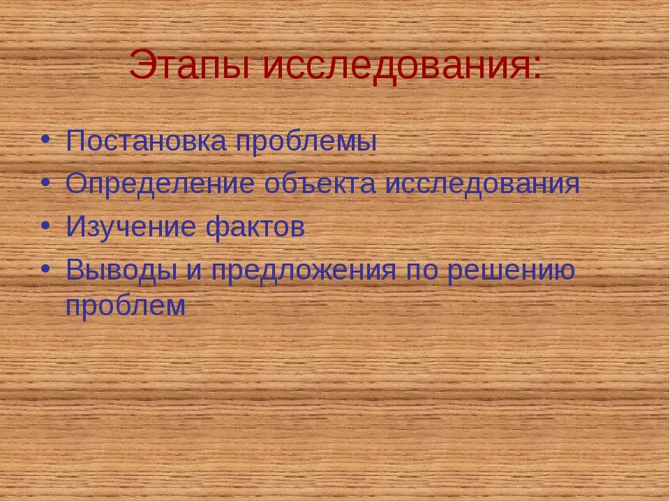 Этапы исследования: Постановка проблемы Определение объекта исследования Изуч...