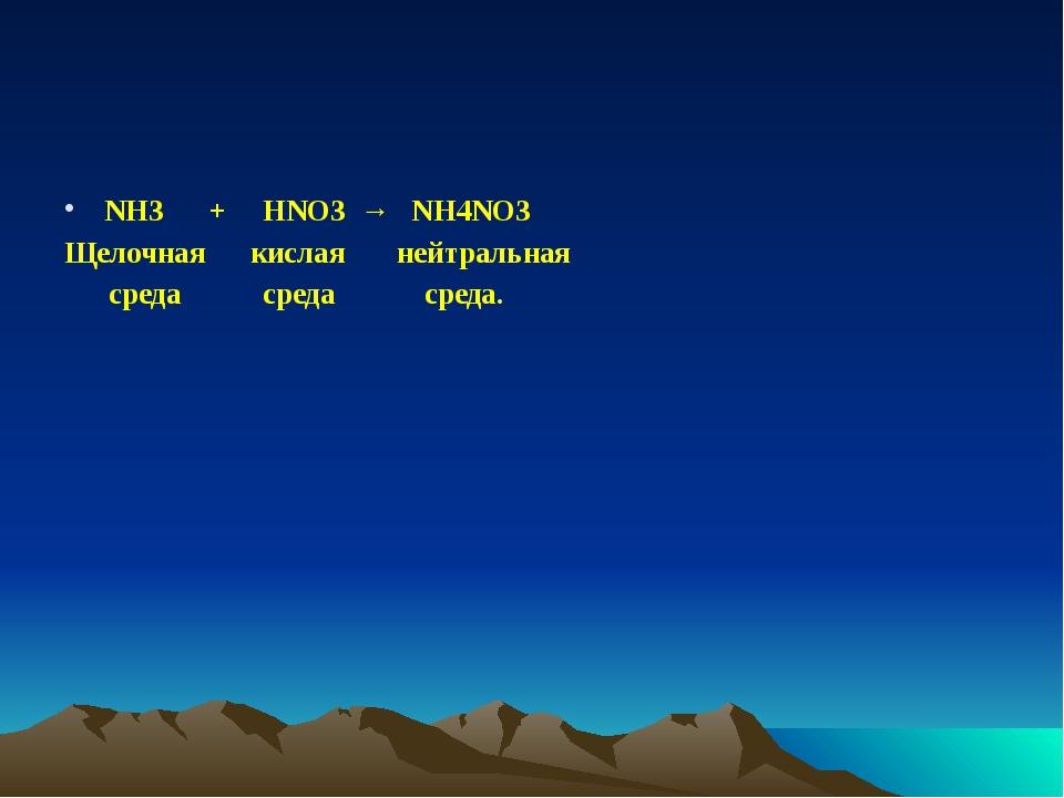 NH3 + HNO3 → NH4NO3 Щелочная кислая нейтральная среда среда среда.