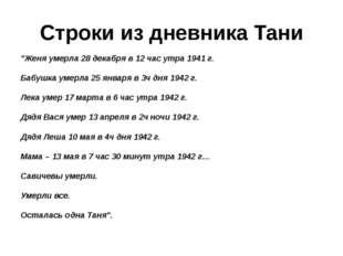 """Строки из дневника Тани """"Женя умерла 28 декабря в 12 час утра 1941 г. Бабушк"""