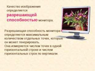 Качество изображения определяется разрешающей способностью монитора. Разрешаю