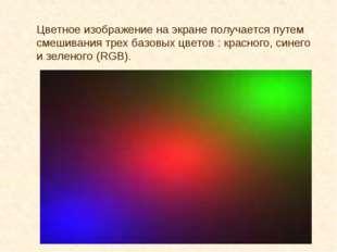 Цветное изображение на экране получается путем смешивания трех базовых цветов