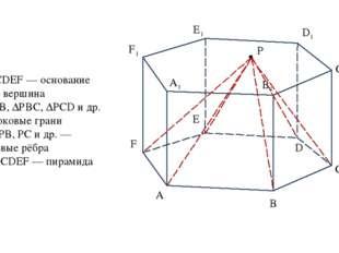 А В С D E F А1 B1 C1 D1 F1 E1 P ABCDEF — основание Р — вершина ∆РАВ, ∆РВС, ∆Р