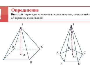 А В D S С Определение Высотой пирамиды называется перпендикуляр, опущенный из