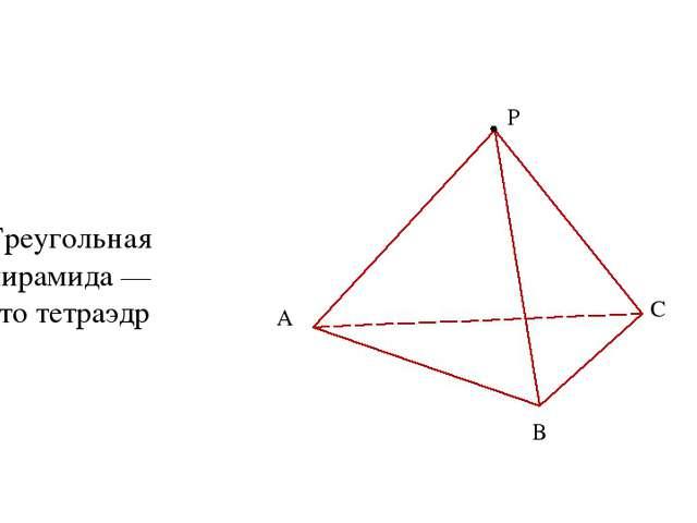 А В С P Треугольная пирамида — это тетраэдр