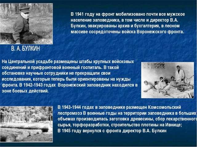 В 1941 году на фронт мобилизовано почти все мужское население заповедника, в...