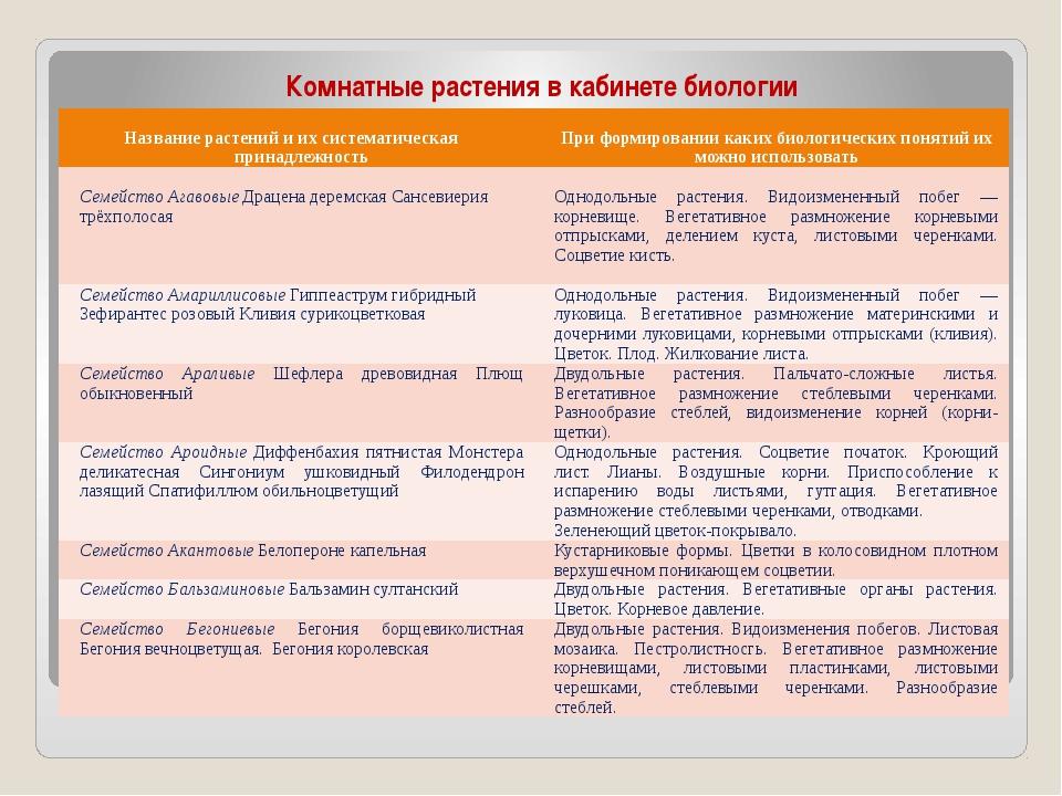 Комнатные растения в кабинете биологии Названиерастений и их систематическая...