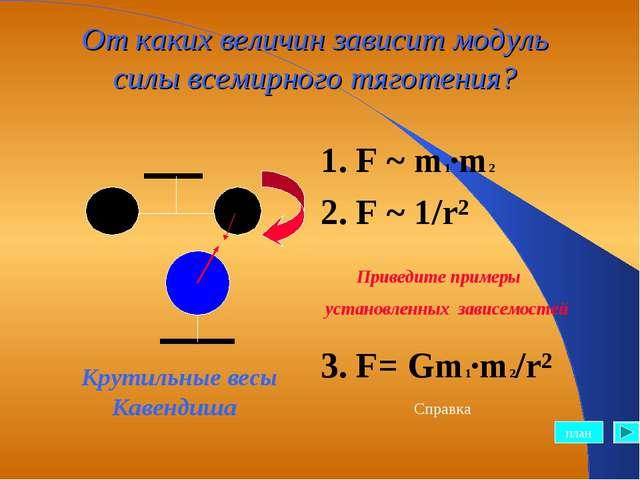 От каких величин зависит модуль силы всемирного тяготения? 1. F ~ m1·m2 2. F...