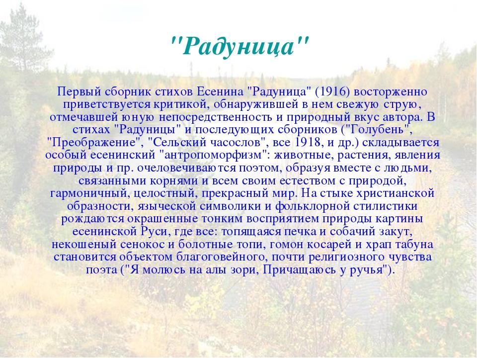 """""""Радуница"""" Первый сборник стихов Есенина """"Радуница"""" (1916) восторженно привет..."""