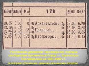 Расписание движения пассажирских поездов сообщением Архангельск-Город — Карпо