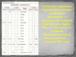 Расписание движения пригородных поездов сообщением Луковецкий — Архангельск-
