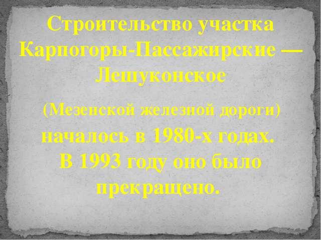 Строительство участка Карпогоры-Пассажирские — Лешуконское (Мезенской железно...