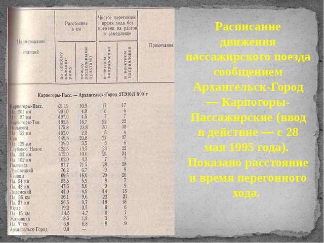 Расписание движения пассажирского поезда сообщением Архангельск-Город — Карпо...