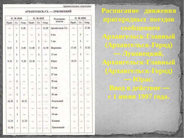 Расписание движения пригородных поездов сообщением Архангельск-Главный (Архан...