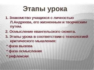 Этапы урока 1. Знакомство учащихся с личностью Л.Андреева, его жизненным и тв