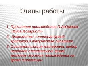 Этапы работы 1. Прочтение произведения Л.Андреева «Иуда Искариот». 2. Знакомс