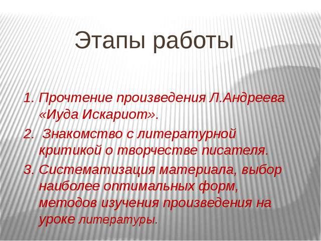 Этапы работы 1. Прочтение произведения Л.Андреева «Иуда Искариот». 2. Знакомс...